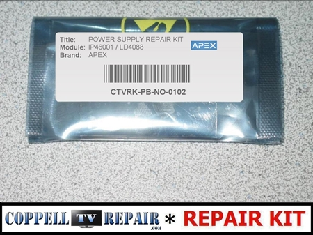 Picture of APEX LD4088 repair kit for failed power supply IP46001 causing no backlight / no image on screen